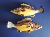 Unusual Pair of Majolica Fish Wall Pockets c1890